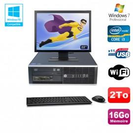 "Lot PC HP Compaq 6200 Pro SFF Intel i3 3.3GHz 16Go 2To Graveur WIFI W7 Pro + 22"""