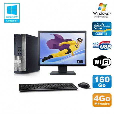 Lot PC DELL 790 SFF Intel Core i3-2120 3.3Ghz 4Go 160Go WIFI W7 Pro + Ecran 17""