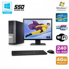 """Lot PC DELL 790 SFF Intel i3-2120 3.3Ghz 4Go 240Go SSD WIFI W7 Pro + Ecran 19"""""""