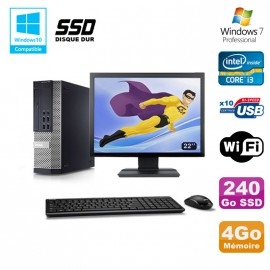 Lot PC DELL 790 SFF Intel i3-2120 3.3Ghz 4Go 240Go SSD WIFI W7 Pro + Ecran 22""