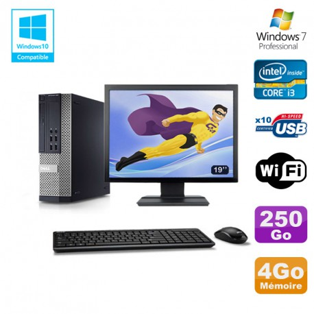 """Lot PC DELL 790 SFF Intel Core i3-2120 3.3Ghz 4Go 250Go WIFI W7 Pro + Ecran 19"""""""