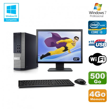 Lot PC DELL 790 SFF Intel Core i3-2120 3.3Ghz 4Go 500Go WIFI W7 Pro + Ecran 22""