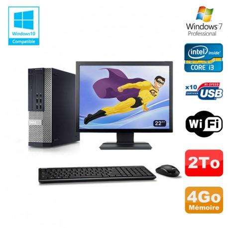 """Lot PC DELL 790 SFF Intel Core i3-2120 3.3Ghz 4Go 2To WIFI W7 Pro + Ecran 22"""""""
