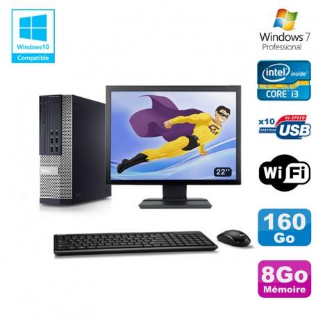 """Lot PC DELL 790 SFF Intel Core i3-2120 3.3Ghz 8Go 160Go WIFI W7 Pro + Ecran 22"""""""