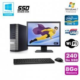 """Lot PC DELL 790 SFF Intel i3-2120 3.3Ghz 8Go 240Go SSD WIFI W7 Pro + Ecran 22"""""""