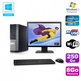 Lot PC DELL 790 SFF Intel Core i3-2120 3.3Ghz 8Go 250Go WIFI W7 Pro + Ecran 22""