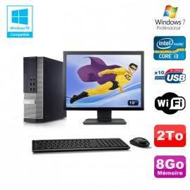 """Lot PC DELL 790 SFF Intel Core i3-2120 3.3Ghz 8Go 2To WIFI W7 Pro + Ecran 19"""""""