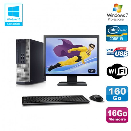 Lot PC DELL 790 SFF Intel Core i3-2120 3.3Ghz 16Go 160Go WIFI W7 Pro + Ecran 19""