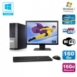 """Lot PC DELL 790 SFF Intel Core i3-2120 3.3Ghz 16Go 160Go WIFI W7 Pro + Ecran 22"""""""
