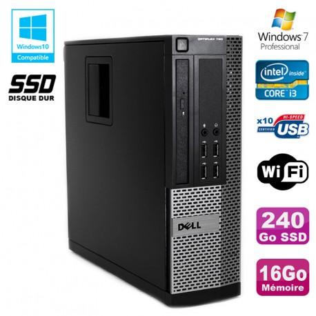 PC DELL Optiplex 790 SFF Intel i3-2120 3.3Ghz 16Go DDR3 240Go SSD WIFI W7 Pro