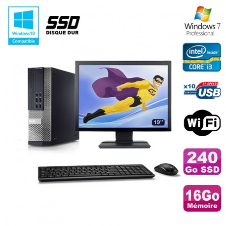 Lot PC DELL 790 SFF Intel i3-2120 3.3Ghz 16Go 240Go SSD WIFI W7 Pro + Ecran 22""