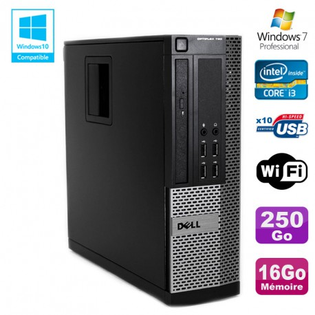 PC DELL Optiplex 790 SFF Intel core i3-2120 3.3Ghz 16Go DDR3 250Go WIFI W7 Pro