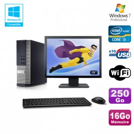 Lot PC DELL 790 SFF Intel Core i3-2120 3.3Ghz 16Go 250Go WIFI W7 Pro + Ecran 19""