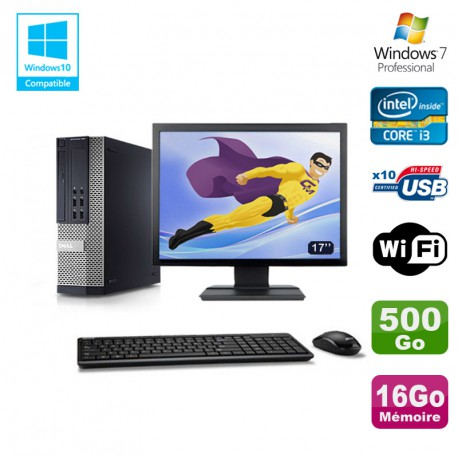 Lot PC DELL 790 SFF Intel Core i3-2120 3.3Ghz 16Go 500Go WIFI W7 Pro + Ecran 17""