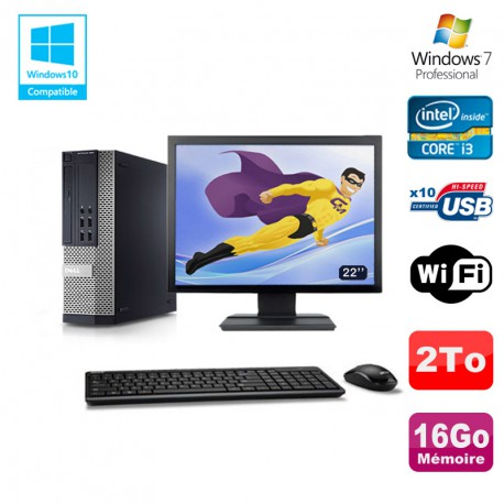 Lot PC DELL 790 SFF Intel Core i3-2120 3.3Ghz 16Go 2To WIFI W7 Pro + Ecran 22""