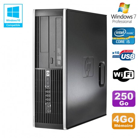 PC HP Elite 8300 SFF Core I5 3470 3.2GHz 4Go Disque 250Go Graveur USB3 Wifi W7