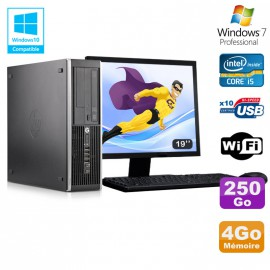 Lot PC HP Elite 8300 SFF I5-3470 3.2GHz 4Go 250Go Graveur Wifi W7 + Ecran 19""