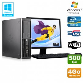 Lot PC HP Elite 8300 SFF I5-3470 3.2GHz 4Go 500Go Graveur Wifi W7 + Ecran 17""