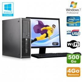 "Lot PC HP Elite 8300 SFF I5-3470 3.2GHz 4Go 500Go Graveur Wifi W7 + Ecran 22"""