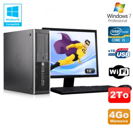 "Lot PC HP Elite 8300 SFF I5-3470 3.2GHz 4Go 2To Graveur Wifi W7 + Ecran 19"""