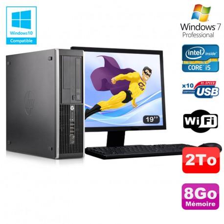 "Lot PC HP Elite 8300 SFF I5-3470 3.2GHz 8Go 2To Graveur Wifi W7 + Ecran 19"""