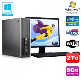 "Lot PC HP Elite 8300 SFF I5-3470 3.2GHz 8Go 2To Graveur Wifi W7 + Ecran 22"""