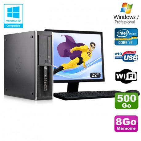 "Lot PC HP Elite 8300 SFF I5-3470 3.2GHz 8Go 500Go Graveur Wifi W7 + Ecran 22"""