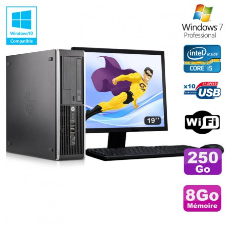 Lot PC HP Elite 8300 SFF I5-3470 3.2GHz 8Go 250Go Graveur Wifi W7 + Ecran 19""
