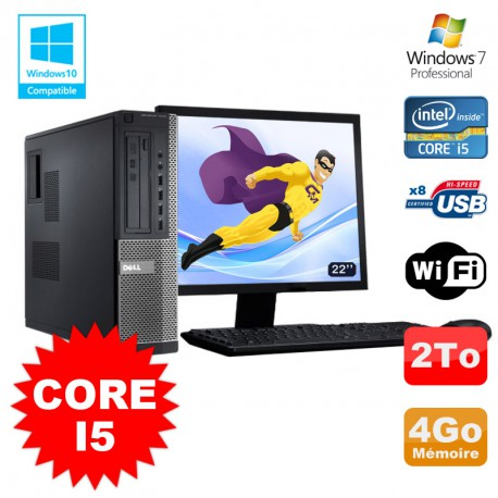 Lot PC Dell 3010 DT Core I5 3.1Ghz 4Go 2To Graveur WIFI Win 7 + Ecran 22""