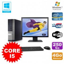 """Lot PC Dell 7010 SFF Core I5 2400 3.1GHz 4Go Disque 250Go Wifi W7 + Ecran 19"""""""