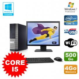 """Lot PC Dell 7010 SFF Core I5 2400 3.1GHz 4Go Disque 500Go Wifi W7 + Ecran 19"""""""
