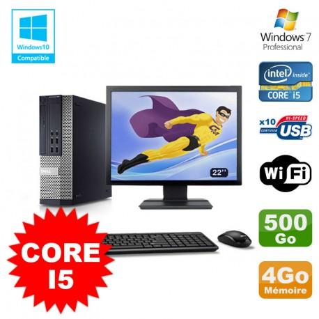"""Lot PC Dell 7010 SFF Core I5 2400 3.1GHz 4Go Disque 500Go Wifi W7 + Ecran 22"""""""