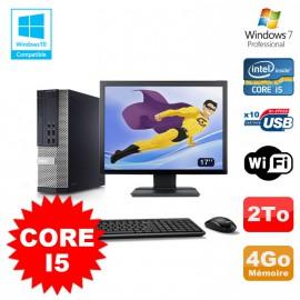 """Lot PC Dell 7010 SFF Core I5 2400 3.1GHz 4Go Disque 2To Wifi W7 + Ecran 17"""""""