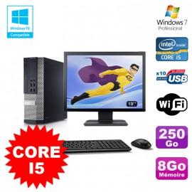 """Lot PC Dell 7010 SFF Core I5 2400 3.1GHz 8Go Disque 250Go Wifi W7 + Ecran 19"""""""