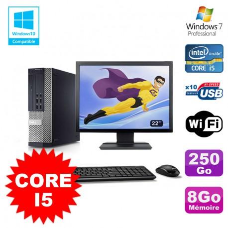 """Lot PC Dell 7010 SFF Core I5 2400 3.1GHz 8Go Disque 250Go Wifi W7 + Ecran 22"""""""