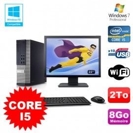 Lot PC Dell 7010 SFF Core I5 2400 3.1GHz 8Go Disque 2To Wifi W7 + Ecran 22""