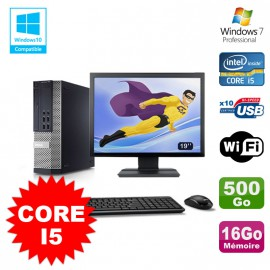 Lot PC Dell 7010 SFF Core I5 2400 3.1GHz 16Go Disque 500Go Wifi W7 + Ecran 19""