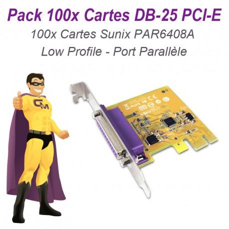 Lot 100 Cartes SUNIX Port Parallèle IEEE1284 LPT DB-25 PCIe Low Profile PAR6408A