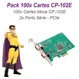 Lot 100 Cartes PCI-E 2 Ports Serie RS-232 DB9 Moxa CP-102E Linux Windows
