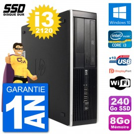 PC HP Compaq 6200 Pro SFF Intel i3-2120 RAM 8Go SSD 240Go Windows 10 Wifi
