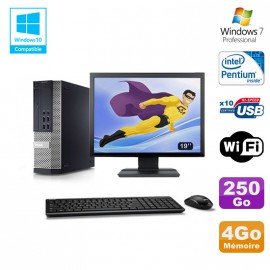 """Lot PC Dell 7010 SFF Intel G870 3.1GHz 4Go Disque 250Go Wifi W7 + Ecran 19"""""""
