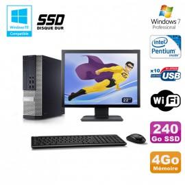 """Lot PC Dell 7010 SFF Intel G870 3.1GHz 4Go Disque 240Go SSD Wifi W7 + Ecran 22"""""""