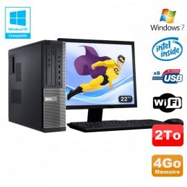 Lot PC DELL Optiplex 390DT G2020 DVD 4Go Disque 2To Wifi HDMI Win 7 + Ecran 22