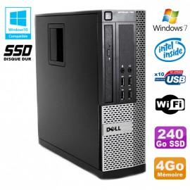 PC DELL Optiplex 790 SFF Intel G2020 Ram 4Go DDR3 Disque 240Go SSD WIFI Win 7