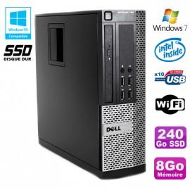 PC DELL Optiplex 790 SFF Intel G2020 Ram 8Go DDR3 Disque 240Go SSD WIFI Win 7