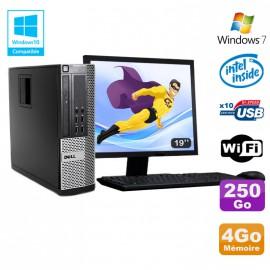 Lot PC DELL Optiplex 790 SFF Intel G2020 4Go Disque 250Go WIFI Win 7 + Ecran 19