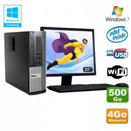 Lot PC DELL Optiplex 790 SFF Intel G2020 4Go Disque 500Go WIFI Win 7 + Ecran 22