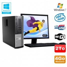 Lot PC DELL Optiplex 790 SFF Intel G2020 4Go Disque 2To WIFI Win 7 + Ecran 17