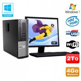 Lot PC DELL Optiplex 790 SFF Intel G2020 4Go Disque 2To WIFI Win 7 + Ecran 19