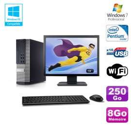 """Lot PC DELL Optiplex 7010 SFF G870 DVD 8Go Disque 250Go Wifi Win 7 + Ecran 19"""""""